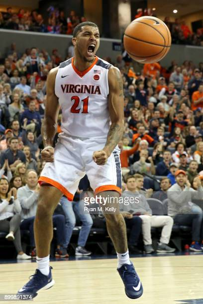 Isaiah Wilkins of the Virginia Cavaliers celebrates in the second half during a game against the Boston College Eagles at John Paul Jones Arena on...