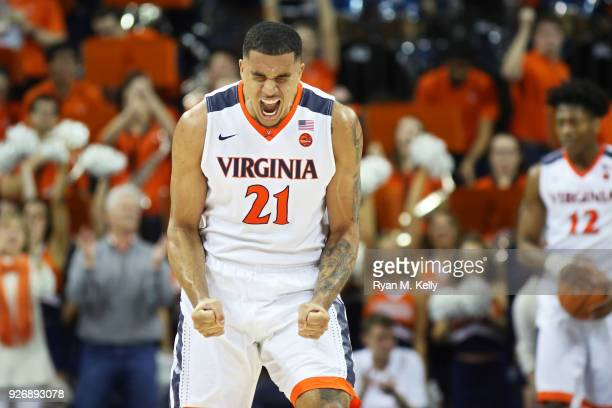 Isaiah Wilkins of the Virginia Cavaliers cheers in the second half during a game against the Notre Dame Fighting Irish at John Paul Jones Arena on...