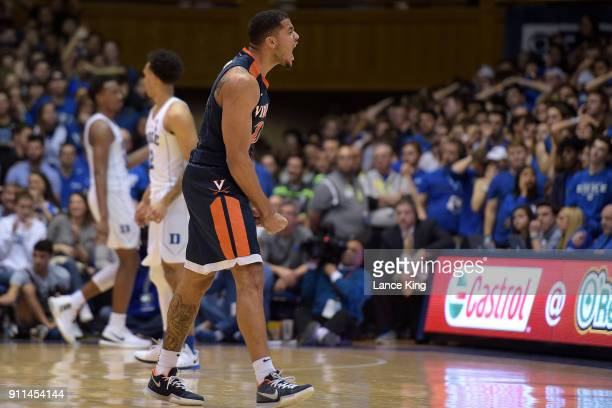 Isaiah Wilkins of the Virginia Cavaliers reacts late in their game against the Duke Blue Devils at Cameron Indoor Stadium on January 27 2018 in...