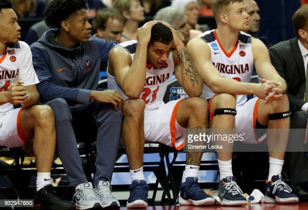Isaiah Wilkins of the Virginia Cavaliers reacts to their 7454 loss to the UMBC Retrievers during the first round of the 2018 NCAA Men's Basketball...
