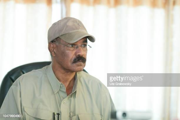 Isaias Afewerki president of Eritrea on August 24 2018 in Asmara Eritrea President sitting at his desktop