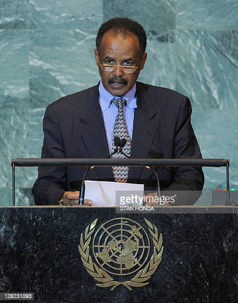 Isaias Afwerki President of Eritrea speaks during the United Nations General Assembly September 23 2011 at UN headquarters in New York AFP PHOTO/Stan...