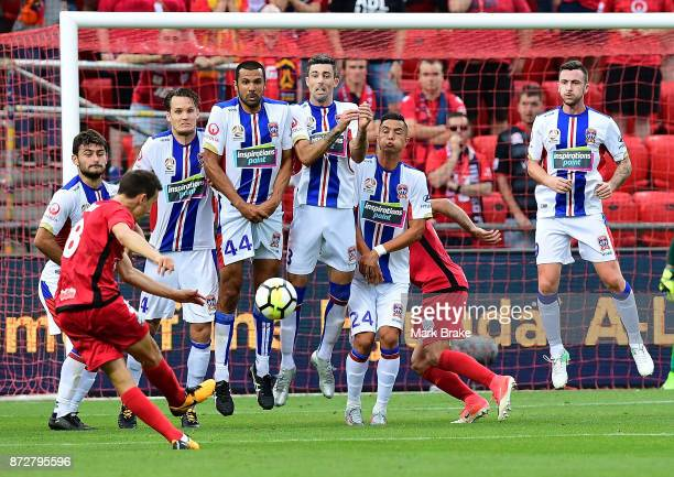 Isaias hits a free kick into the Newcastle wall during the round six ALeague match between Adelaide United and the Newcastle Jets at Coopers Stadium...