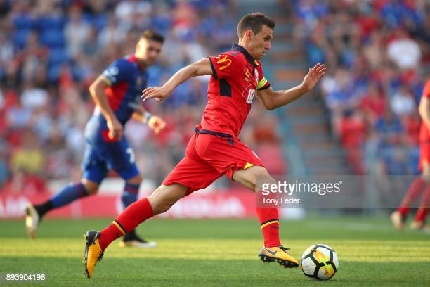 Isaias of Adelaide in action during the round 11 ALeague match between the Newcastle Jets and the Adelaide United at McDonald Jones Stadium on...