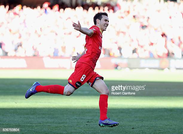 Isaias of Adelaide United celebrates after scoring a goal during the 2015/16 A-League Grand Final match between Adelaide United and the Western...