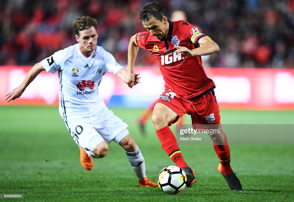 Isaias of Adelaide United during the round 25 A-League match between Adelaide United and the Wellington Phoenix at Coopers Stadium on March 30, 2018 in Adelaide, Australia.