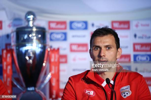 Isaias Sanchez of Adelaide United speaks to the media during a press conference at Allianz Stadium on November 20 2017 ahead of tomorrow's FFA Cup...