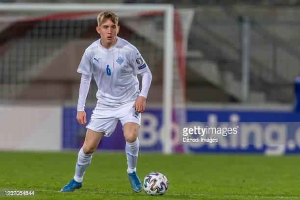 Isak Bergmann Johannesson of Iceland controls the Ball during the FIFA World Cup 2022 Qatar qualifying match between Liechtenstein and Iceland on...