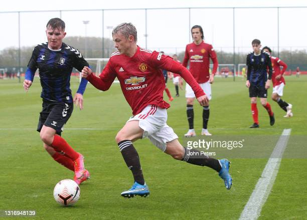 Isak Hansen-Aaroen of Manchester United U18s in action during the U18 Premier League match between Manchester United U18s and Middlesbrough U18s at...