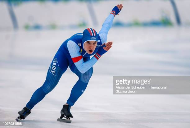 Isak Hoiby of Norway competes in the Mens 500m sprint race during the ISU Junior World Cup Speed Skating Final Day 2 on February 9 2019 in Trento...