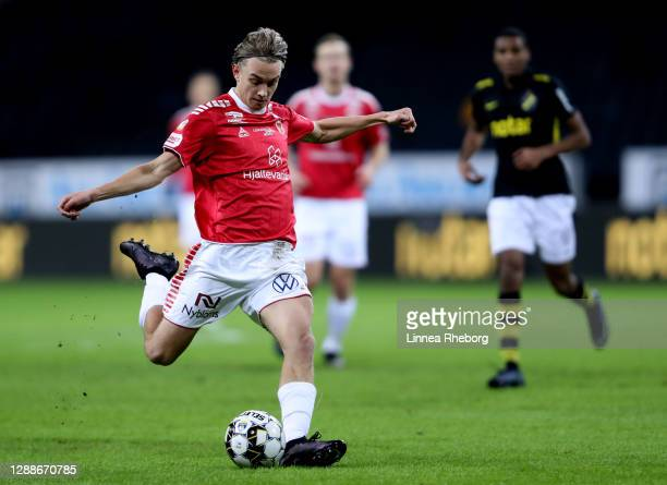 Isak Magnusson of Kalmar FF has a shot but it goes wide during the Allsvenskan match between AIK and Kalmar FF at Friends arena on November 30, 2020...