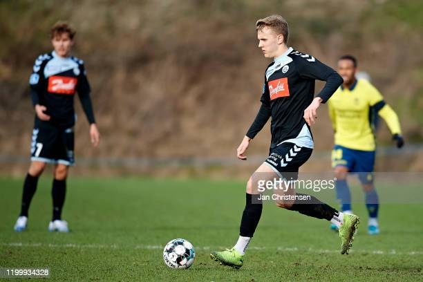 Isak Oli Olafsson of SonderjyskE in action during the testmatch between Brondby IF and SonderjyskE at Brondby Stadion on February 10, 2020 in...
