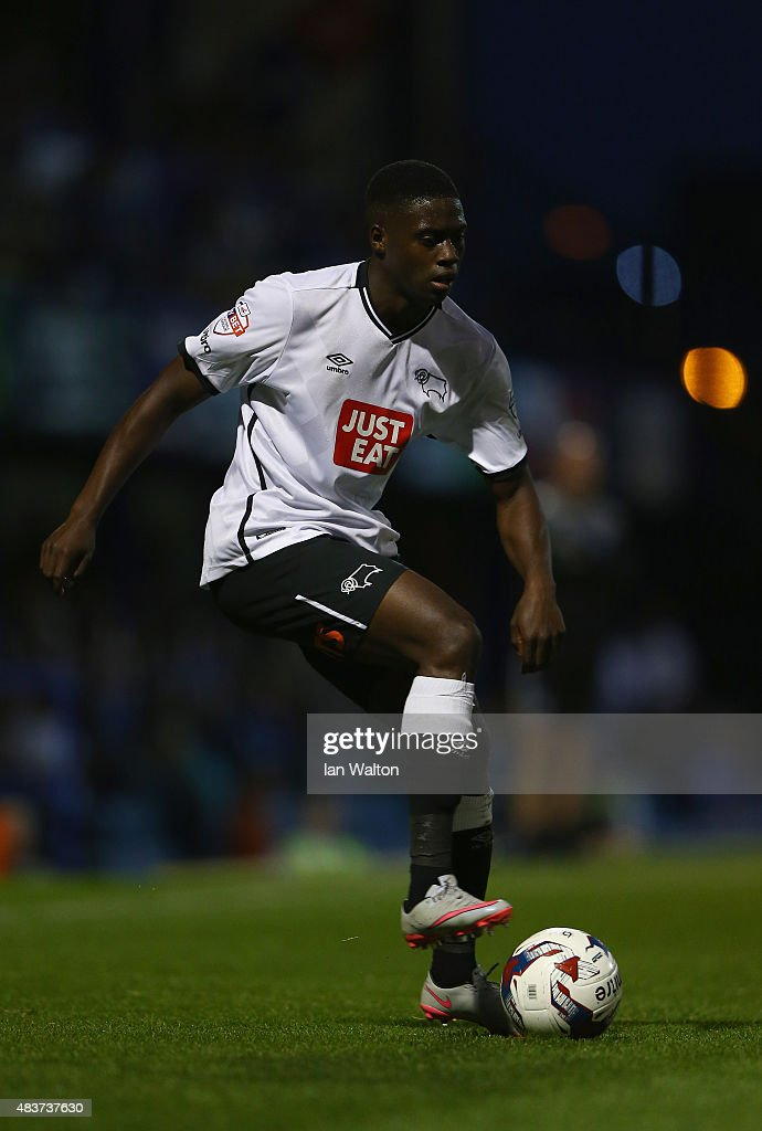 Isak Ssewnkambo of Derby County during the Capital One Cup First Round match between Portsmouth v Derby County at Fratton Park on August 12, 2015 in Portsmouth, England.