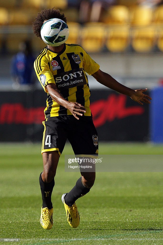 Isaka Cernak of the Phoenix controls the ball during the round 18 A-League match between the Wellington Phoenix and the Newcastle Jets at Westpac Stadium on January 27, 2013 in Wellington, New Zealand.