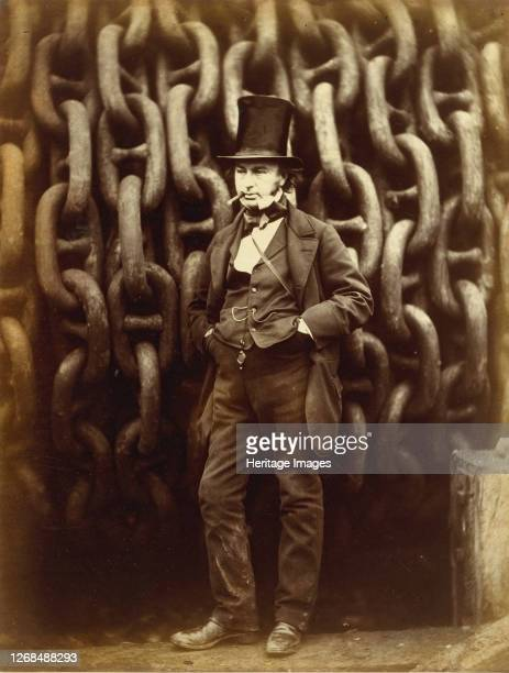 Isambard Kingdom Brunel Standing Before the Launching Chains of the Great Eastern printed 186364 Artist Robert Howlett