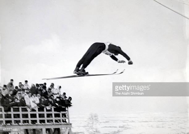 Isamu Sekiguchi competes in the Jingu Ski competition at Nozawa Schanze on February 20 1938 in Toyosato Nagano Japan