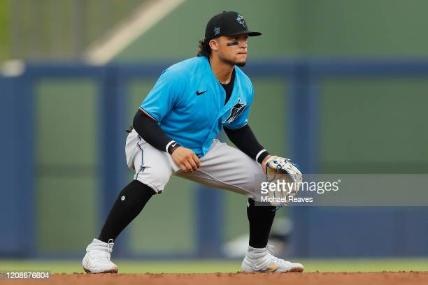 Isan Diaz of the Miami Marlins in action against the Houston Astros during a Grapefruit League spring training game at FITTEAM Ballpark of The Palm...