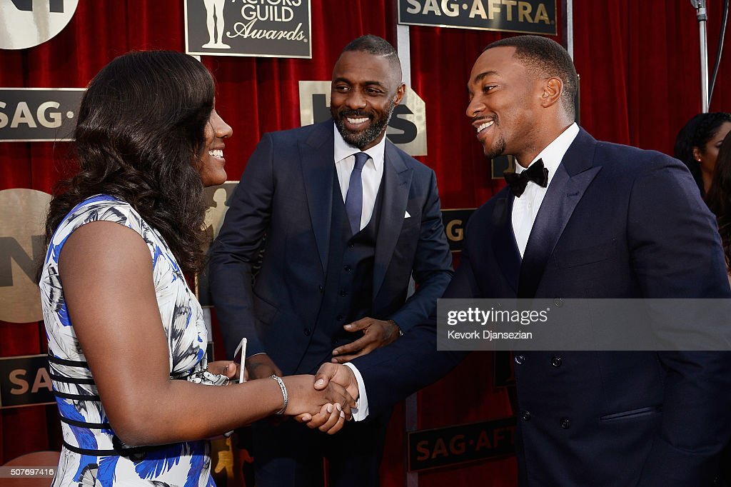 Isan Elba and actors Idris Elba and Anthony Mackie attend the 22nd Annual Screen Actors Guild Awards at The Shrine Auditorium on January 30, 2016 in Los Angeles, California.