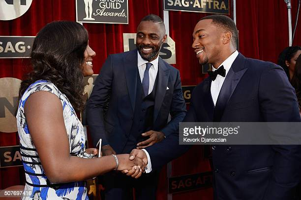 Isan Elba and actors Idris Elba and Anthony Mackie attend the 22nd Annual Screen Actors Guild Awards at The Shrine Auditorium on January 30 2016 in...