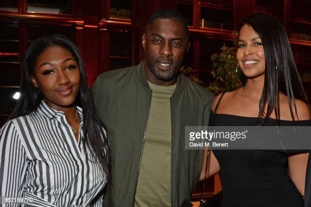 Isan Elba Idris Elba and Sabrina Dhowre attend the ABB Formula E Qatar Airways Paris EPrix Cocktail Party at Automobile Club De France on April 27...