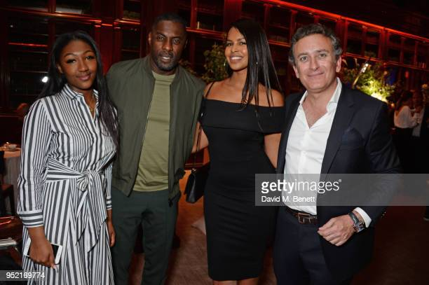 Isan Elba Idris Elba Sabrina Dhowre and FIA Formula E CEO Alejandro Agag attend the ABB Formula E Qatar Airways Paris EPrix Cocktail Party at...