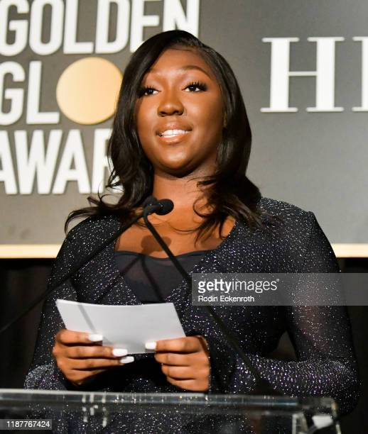 Isan Elba speaks at the HFPA and THR Golden Globe Ambassador Party at Catch LA on November 14 2019 in West Hollywood California