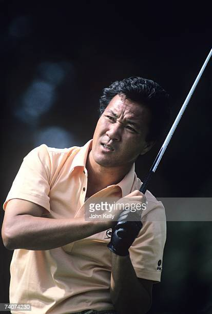Isao Aoki watches his tee shot during the 1980 US Open at the Baltusrol Golf Club.