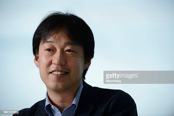 Isao Moriyasu chief executive officer and president of DeNA Co reacts during an interview in Tokyo Japan on Thursday Oct 24 2013 DeNA the Tokyobased...