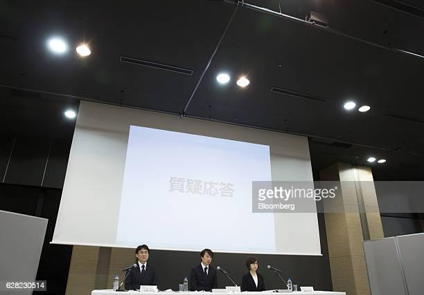 Isao Moriyasu president and chief executive officer of DeNA Co center Tomoko Namba founder and chairman right and Kenji Kobayashi executive officer...