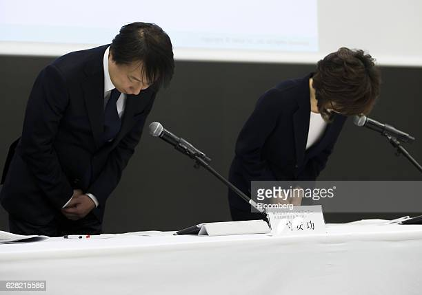 Isao Moriyasu president and chief executive officer of DeNA Co left and Tomoko Namba founder and chairman bow during a news conference in Tokyo Japan...