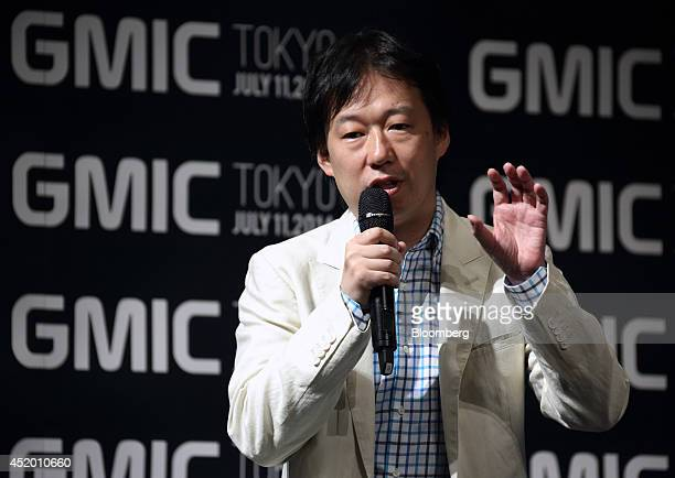 Isao Moriyasu president and chief executive officer of DeNA Co speaks at the Global Mobile Internet Conference in Tokyo Japan on Friday July 11 2014...