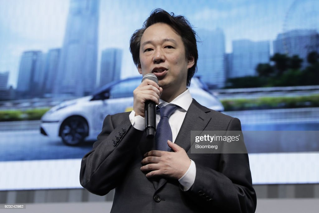 Isao Moriyasu, president and chief executive officer of DeNA Co., speaks during a news conference for the 'Easy Ride' robot taxi service, jointly developed by Nissan Motor Co. and DeNA, at the Nissan global headquarters in Yokohama, Japan, on Friday, Feb. 23, 2018. The service, which allows the public to use a smartphone app to book 15-minute rides, is scheduled to launch on March 5 for two weeks in Yokohama. Photographer: Kiyoshi Ota/Bloomberg via Getty Images