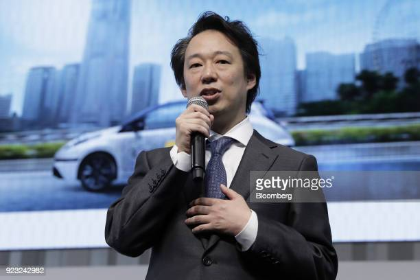 Isao Moriyasu president and chief executive officer of DeNA Co speaks during a news conference for the Easy Ride robot taxi service jointly developed...