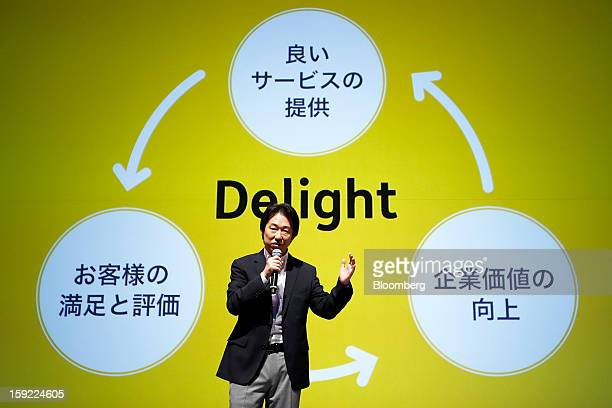 Isao Moriyasu president of DeNA Co speaks during a news conference in Tokyo Japan on Thursday Jan 10 2013 DeNA will offer music services for iOS and...