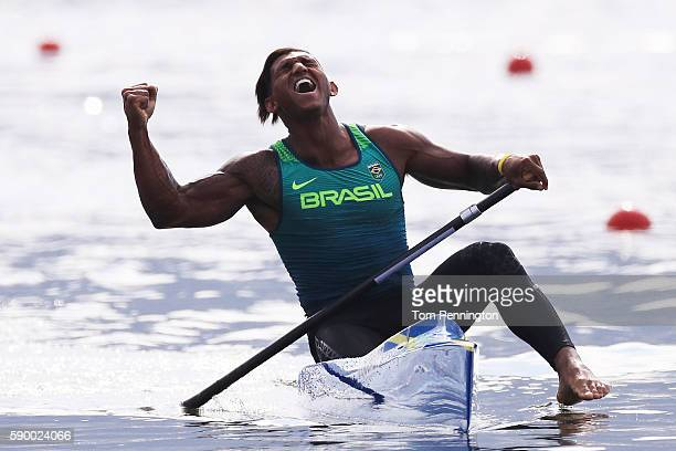 Isaquias Queiroz dos Santos of Brazil celebrates after competing during the Men's Canoe Single 1000m Final A on Day 11 of the Rio 2016 Olympic Games...
