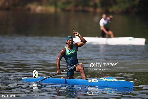 Isaquias Queiroz dos Santos of Brazil celebrates winning the Men's Canoe Single 200m semifinal 1 and qualifying for the Final A during Day 12 of the...
