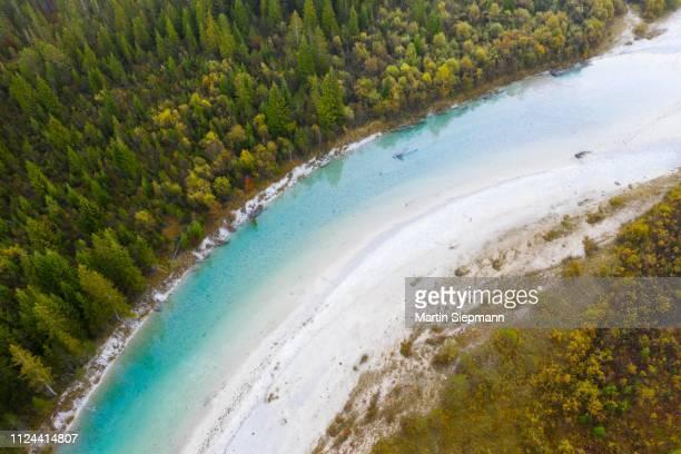 isar, near sylvenstein dam, drone view, isarwinkel, upper bavaria, bavaria, germany - fiume isar foto e immagini stock