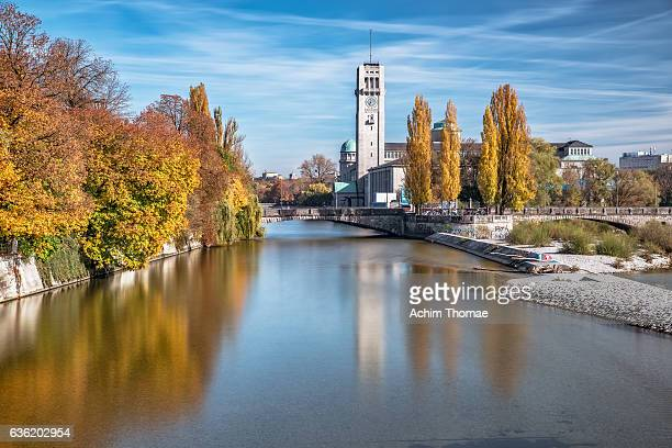 Isar River and Deutsches Museum, Munich, Bavaria, Germany, Europe