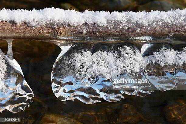 Isar river, icicles on the surface of the water, meadows on the Isar river, Geretsried, Upper Bavaria, Bavaria, Germany, Europe