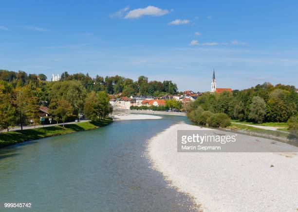 isar river, left calvary hill with holy cross church, right parish church of the assumption, bad toelz, isarwinkel, upper bavaria, bavaria, germany - upper bavaria stock photos and pictures