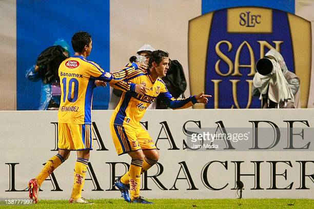 Isarel Sabdi of Tigres celebrates a scored goal against San Luis during a match between San Luis v Tigres as part of the Clausura 2012 at Alfonso...