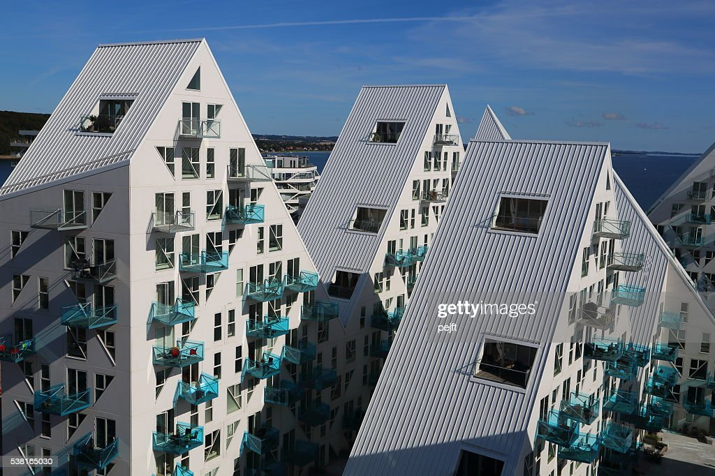 Isbjerget residental modern Housing in Aarhus, Denmark : Stock Photo