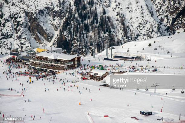 ischgl silvretta arena ski resort, austria/switzerland - austria stock pictures, royalty-free photos & images