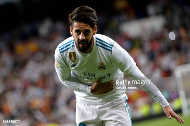 Isco #22 of Real Madrid celebrates after scoring his team's first goal during the La Liga match between Real Madrid v Espanyol at Santiago Bernabeu...