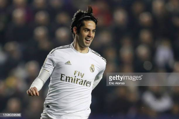 Isco Alarcón of Real Madrid gestures during the Liga match between Levante UD and Real Madrid CF at Ciutat de Valencia on February 22, 2020 in...