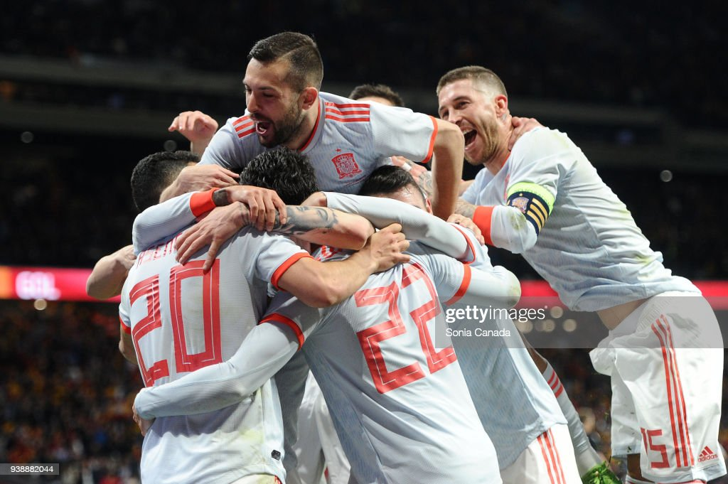 Isco Alarcon, #22 of Spain celebrates after scoring his team's six goal during the international friendly match between Spain and Argentina at Wanda Metropolitano on March 27, 2018 in Madrid, Spain.
