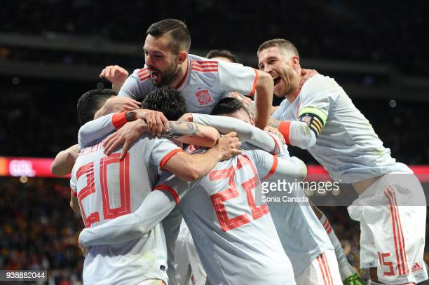 Isco Alarcon #22 of Spain celebrates after scoring his team's six goal during the international friendly match between Spain and Argentina at Wanda...