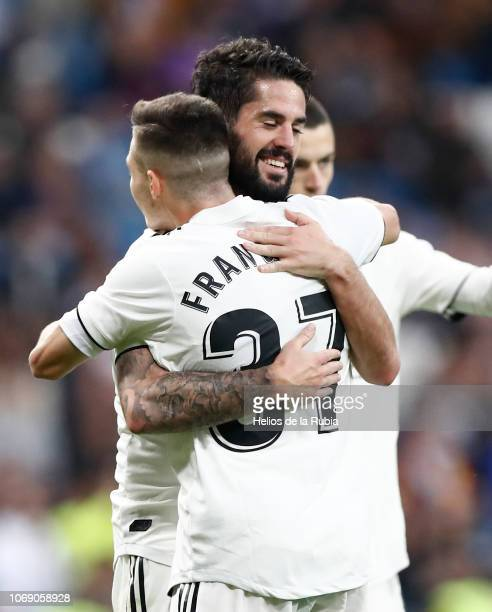 Isco Alarcon and fran Garcia of Real Madrid celebrate after scoring during Copa del Rey fourth round second leg match between Real Madrid CF of...