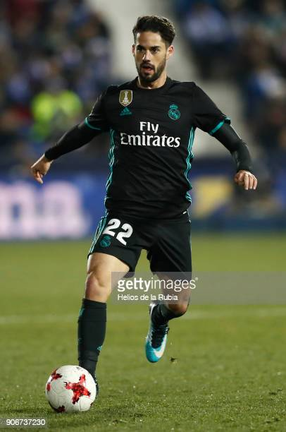 Isco Alarcon in action during the Spanish Copa del Rey Quarter Final First Leg match between Leganes and Real Madrid at Estadio Municipal de Butarque...