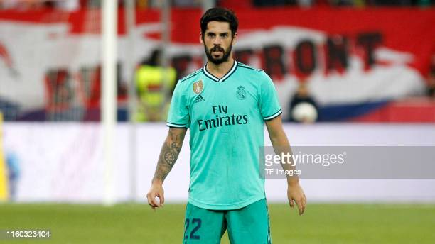 Isco Alarcon looks on during the preseason friendly match between RB Salzburg and Real Madrid at Red Bull Arena on August 07 2019 in Salzburg Austria